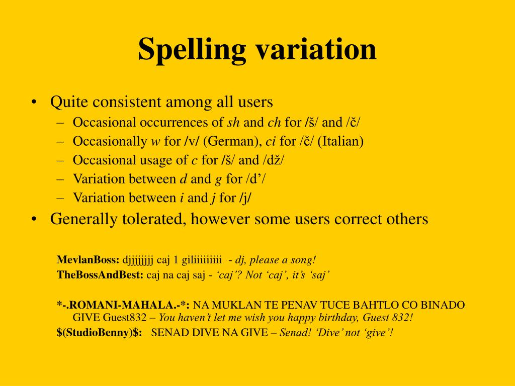Spelling variation