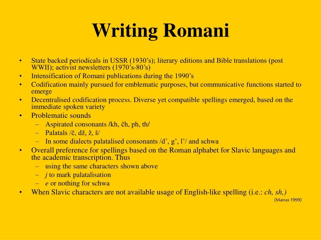 Writing Romani