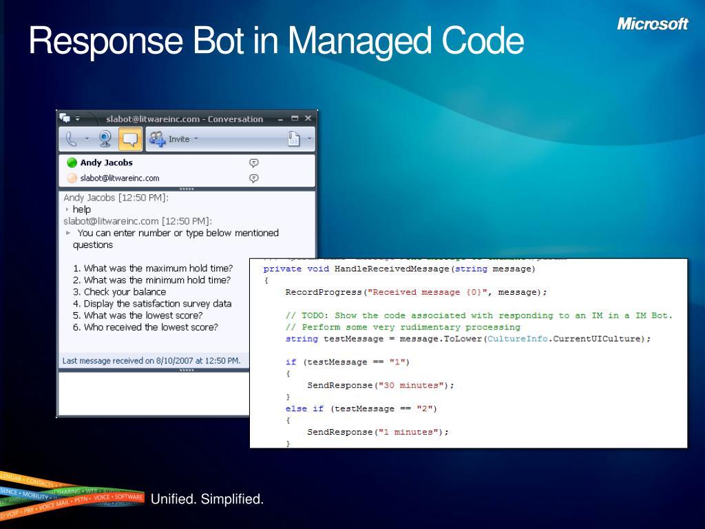 Response Bot in Managed Code