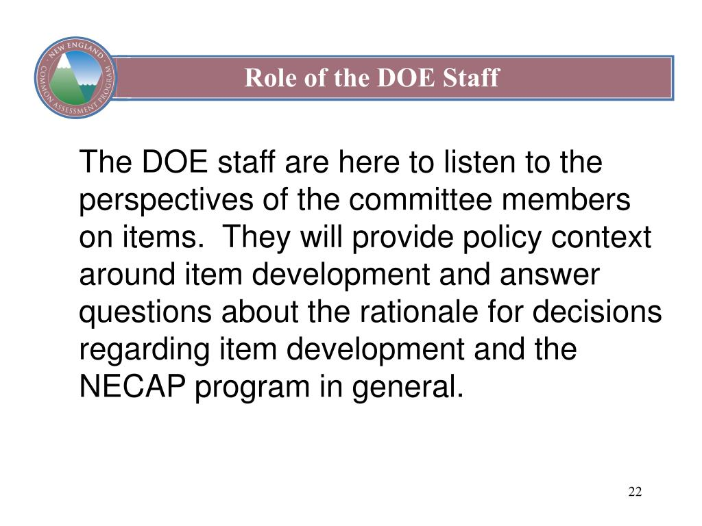 Role of the DOE Staff