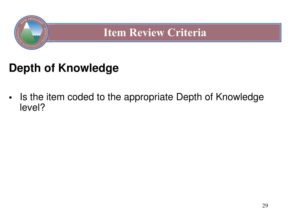 Item Review Criteria