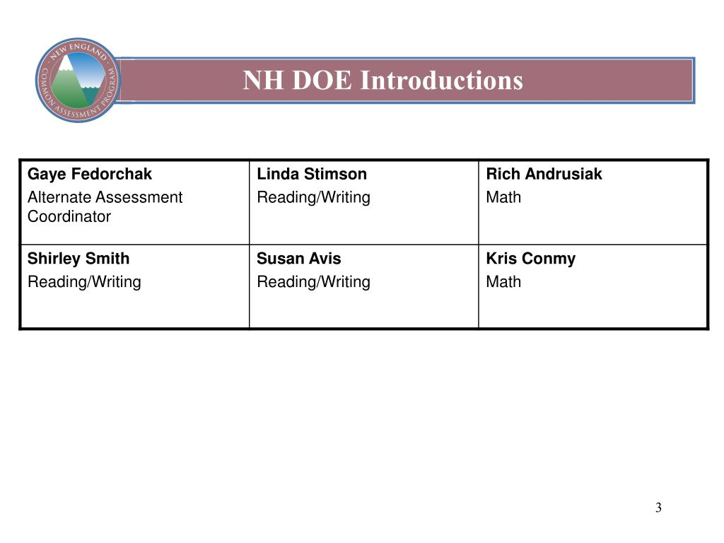 NH DOE Introductions
