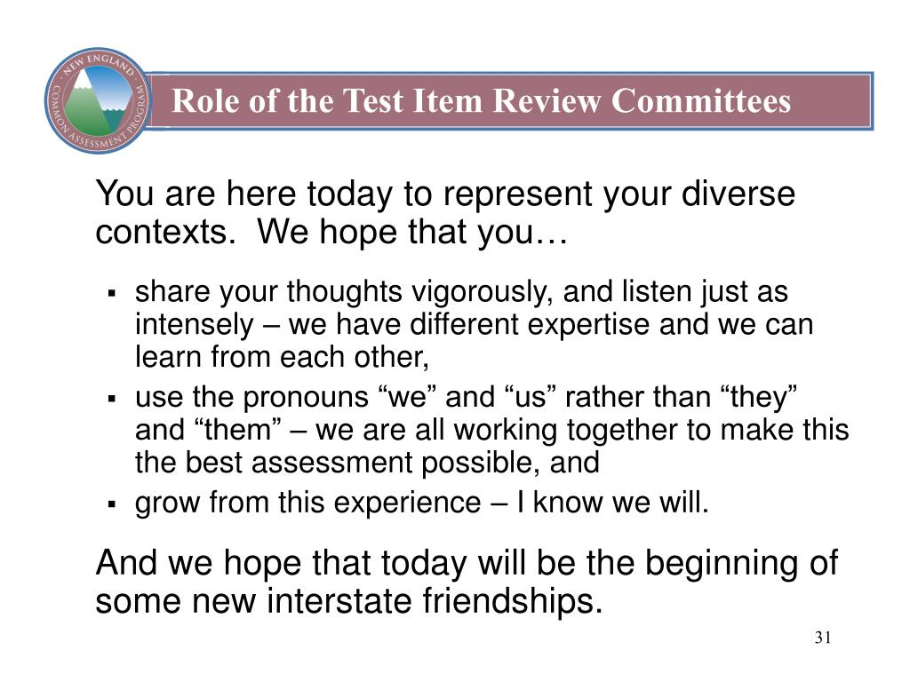 Role of the Test Item Review Committees
