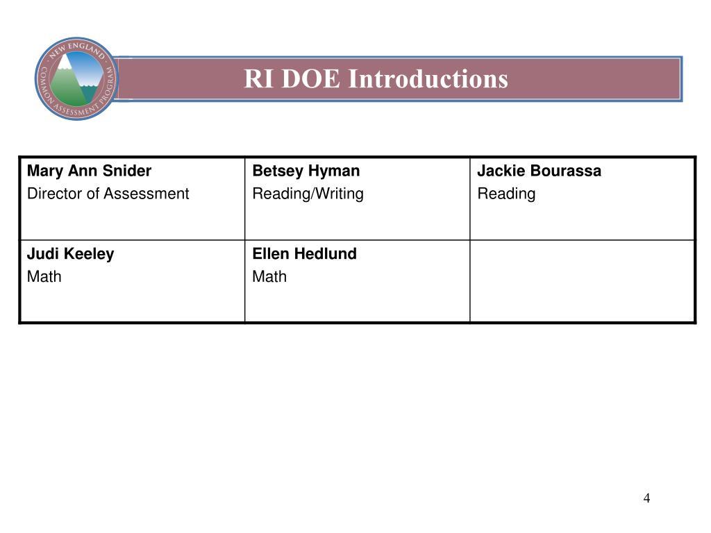 RI DOE Introductions