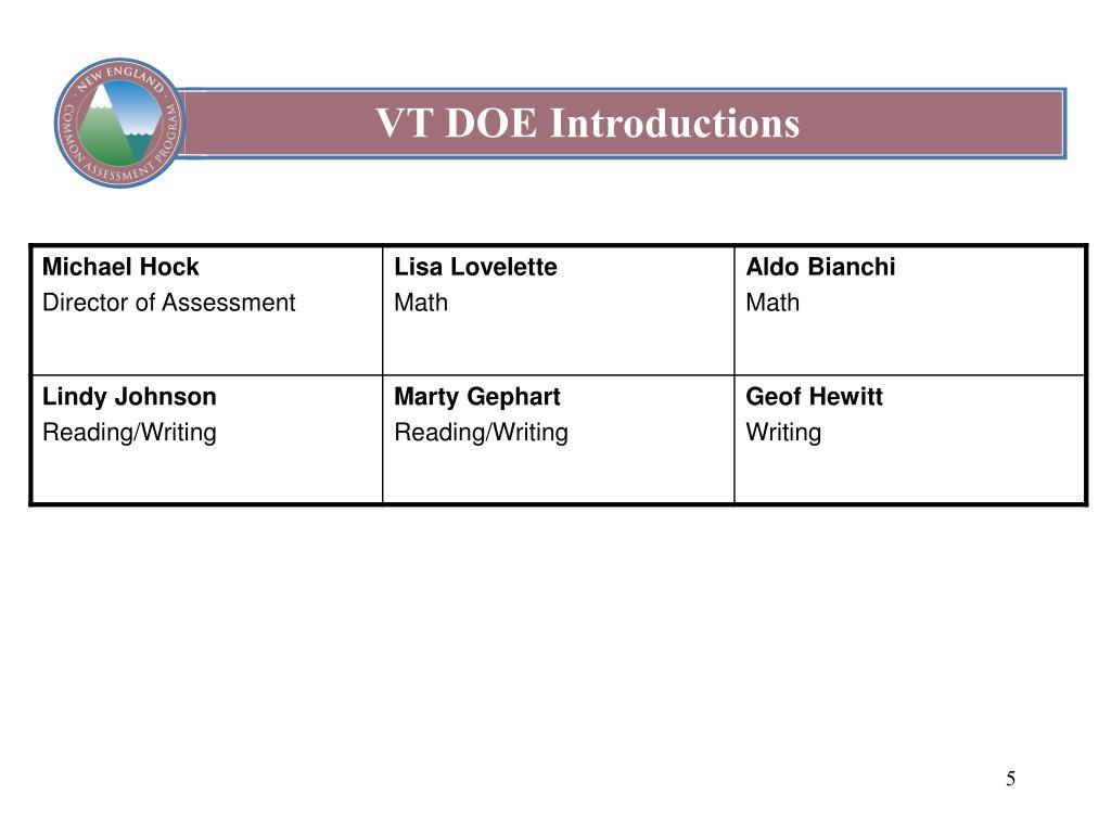 VT DOE Introductions