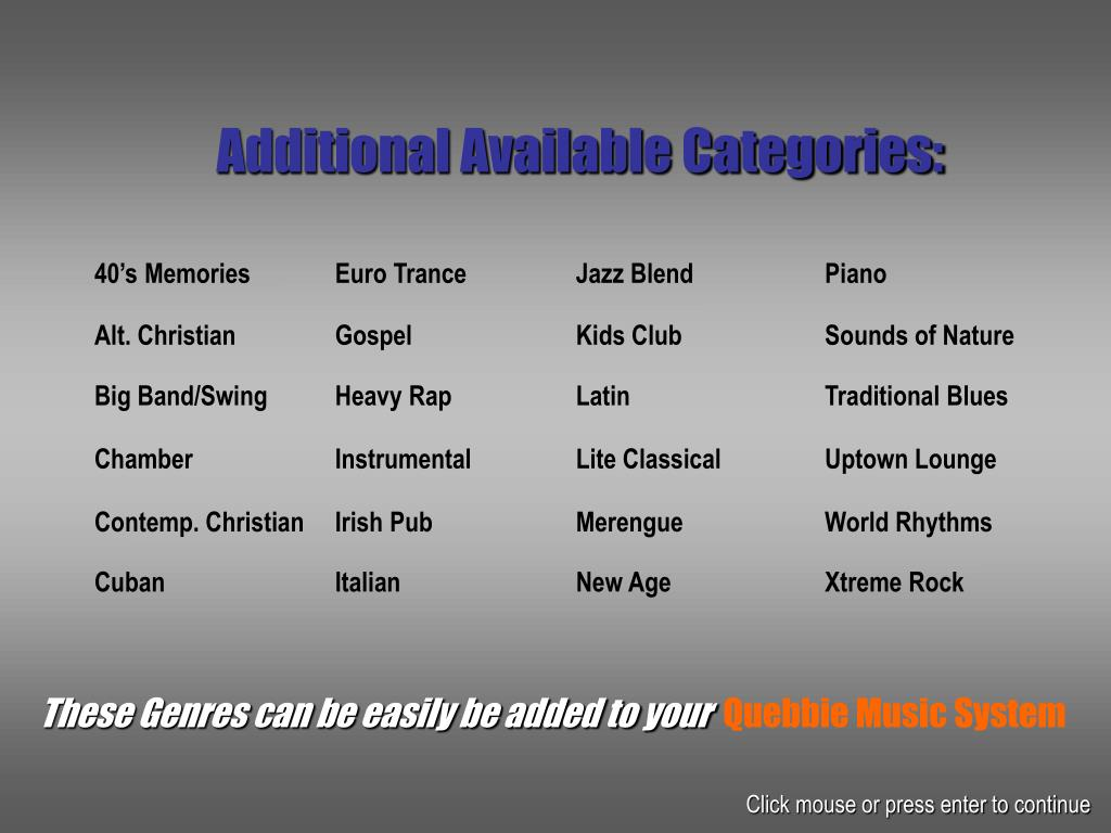 Additional Available Categories: