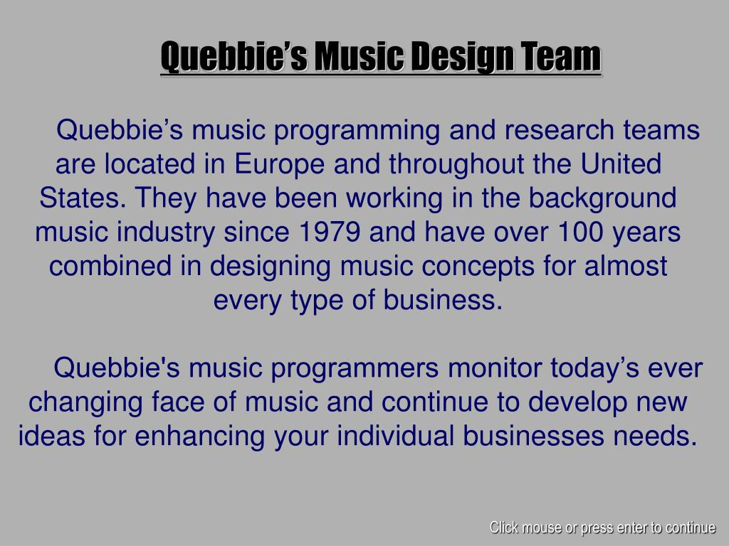 Quebbie's Music Design Team
