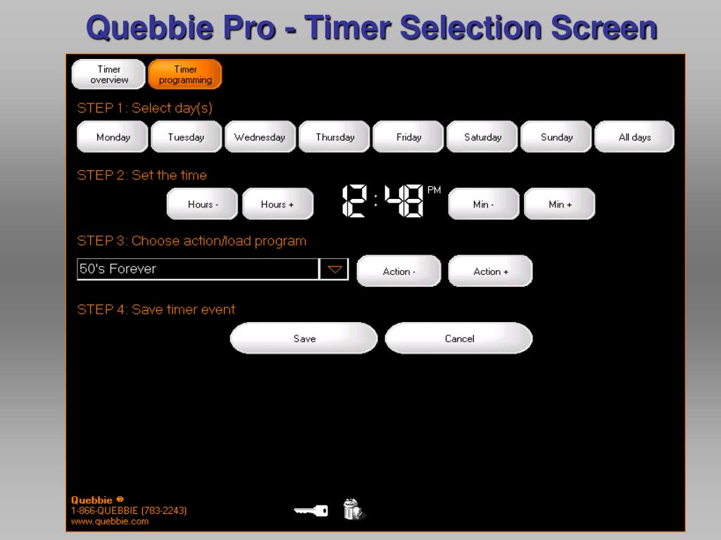 Quebbie Pro - Timer Selection Screen