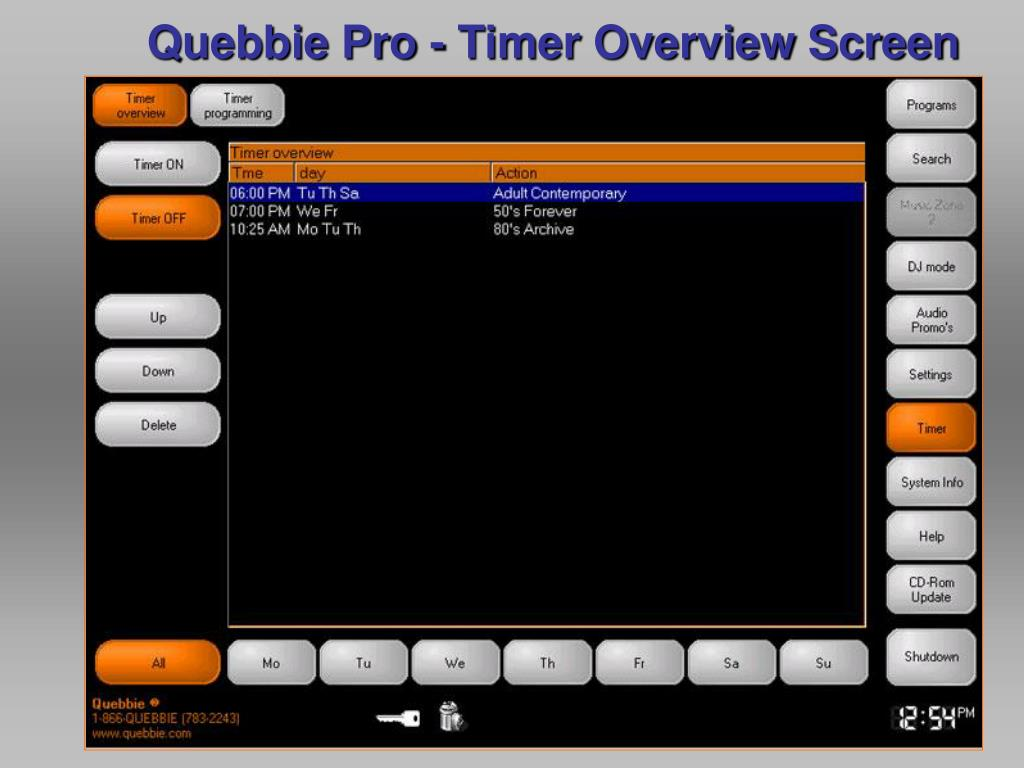 Quebbie Pro - Timer Overview Screen