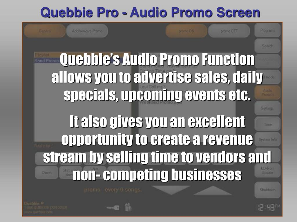 Quebbie Pro - Audio Promo Screen