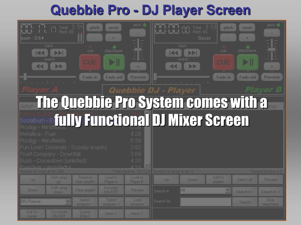 Quebbie Pro - DJ Player Screen