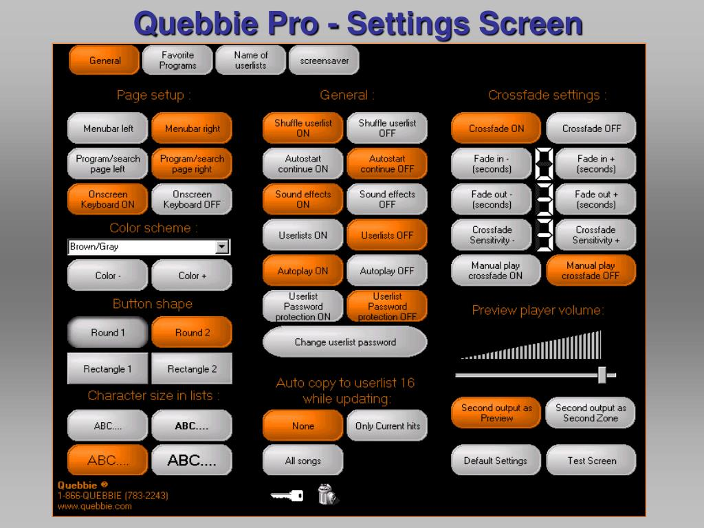 Quebbie Pro - Settings Screen