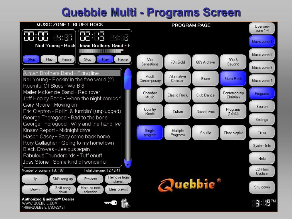 Quebbie Multi - Programs Screen