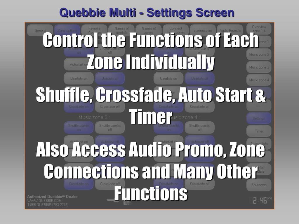 Quebbie Multi - Settings Screen
