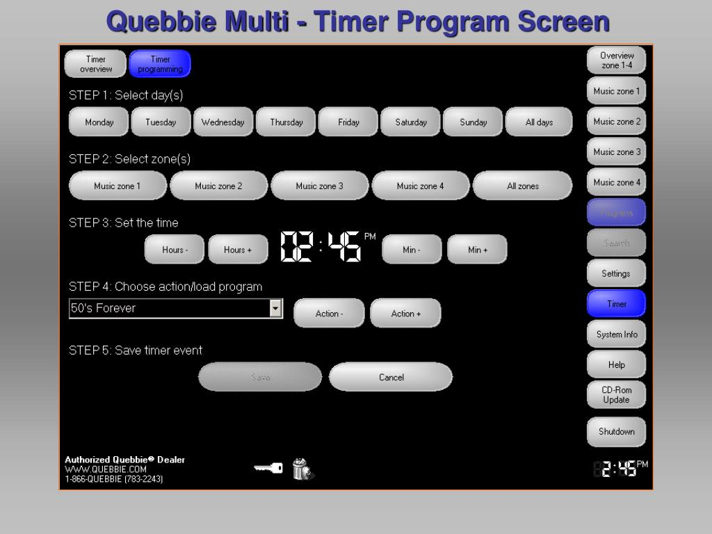 Quebbie Multi - Timer Program Screen