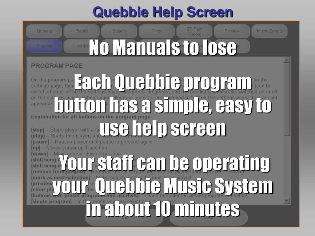 Quebbie Help Screen