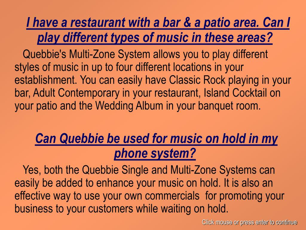 I have a restaurant with a bar & a patio area. Can I play different types of music in these areas?
