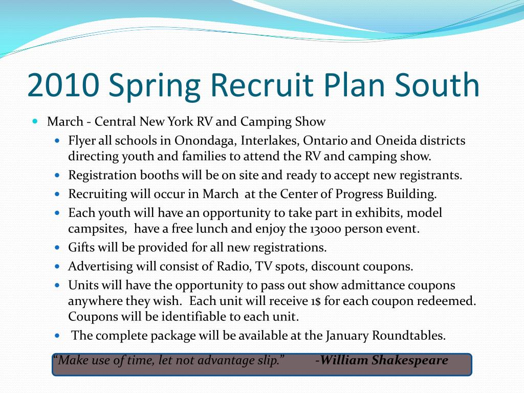 2010 Spring Recruit Plan South