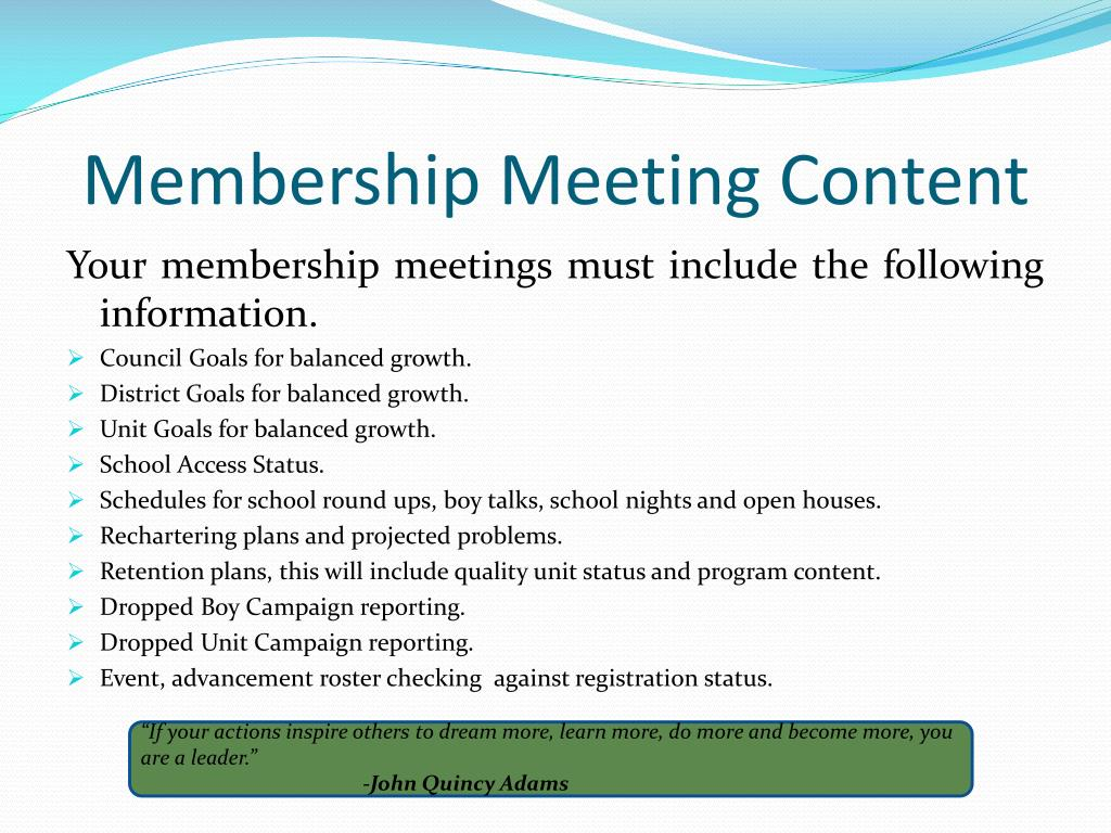 Membership Meeting Content