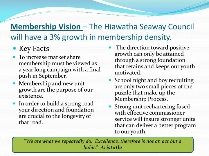 Membership vision the hiawatha seaway council will have a 3 growth in membership density