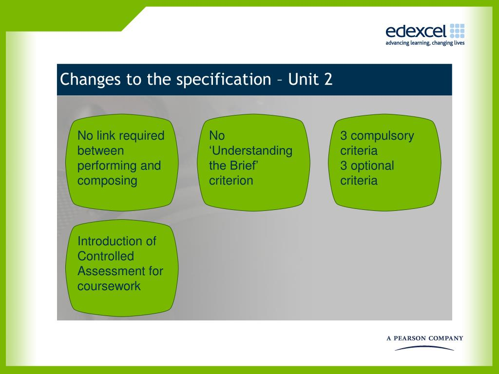 Changes to the specification