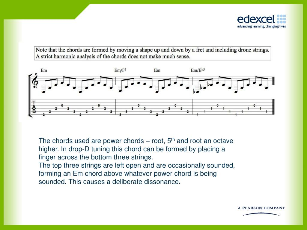 The chords used are power chords – root, 5