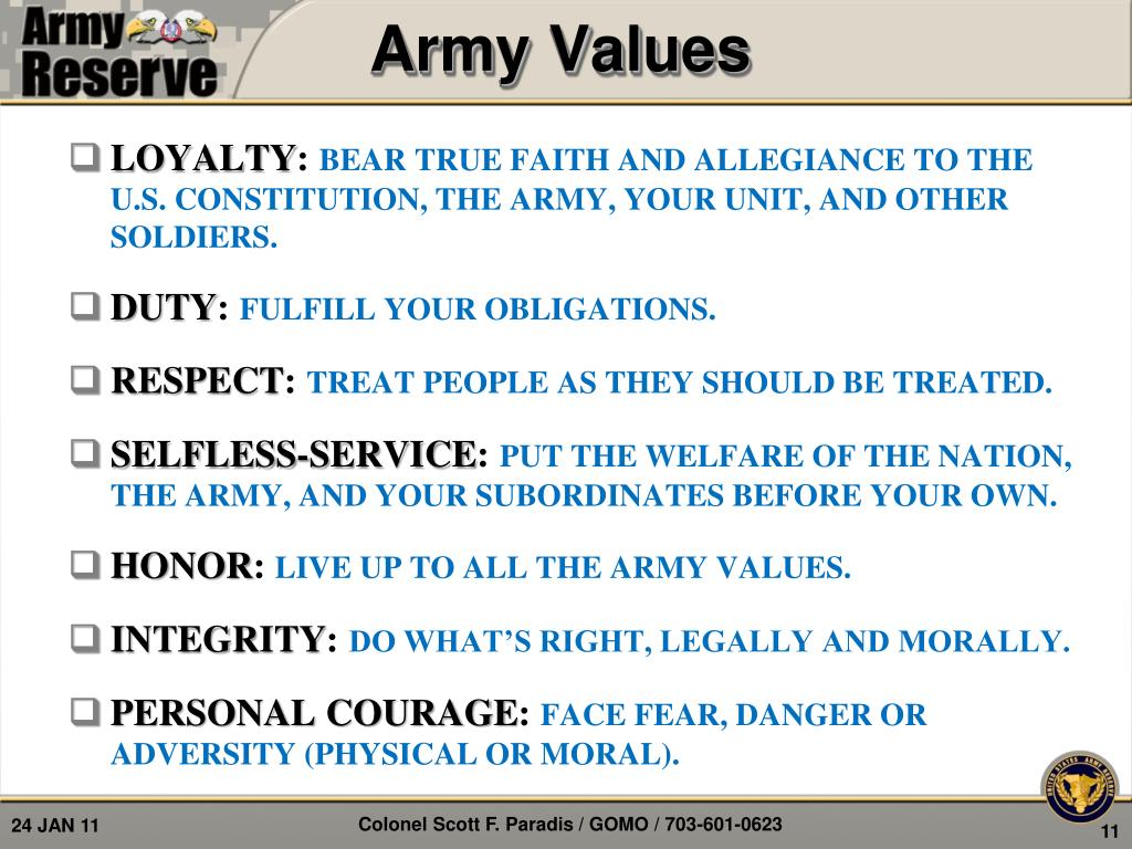 army values integrity