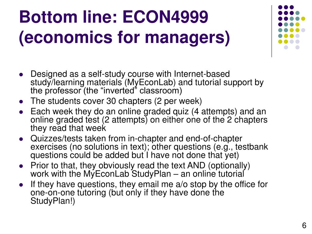 Bottom line: ECON4999 (economics for managers)