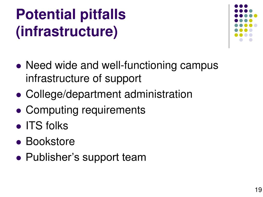 Potential pitfalls (infrastructure)