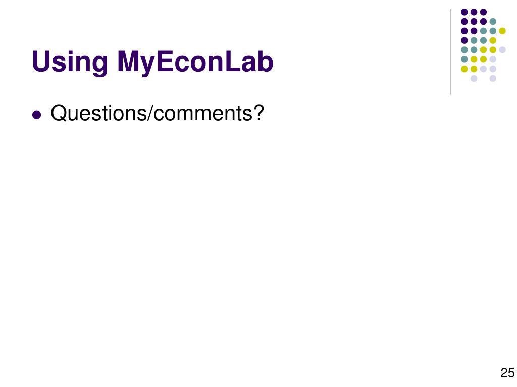 Using MyEconLab