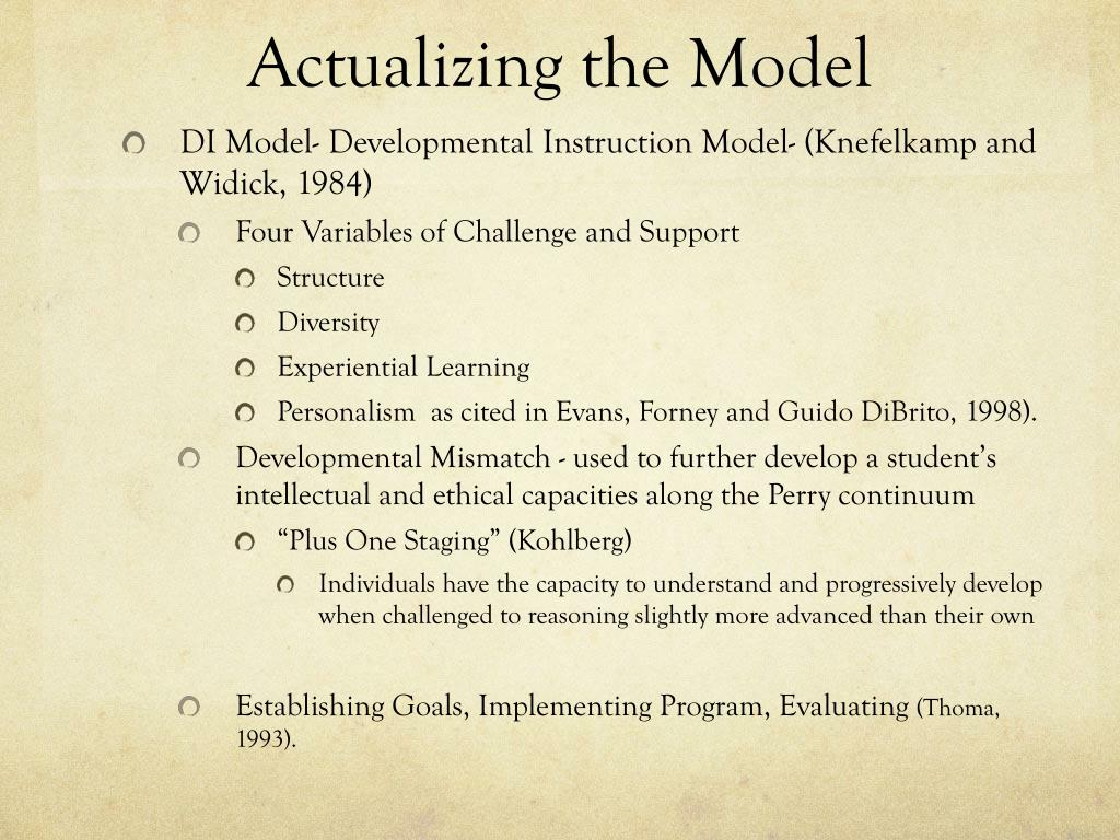 Actualizing the Model