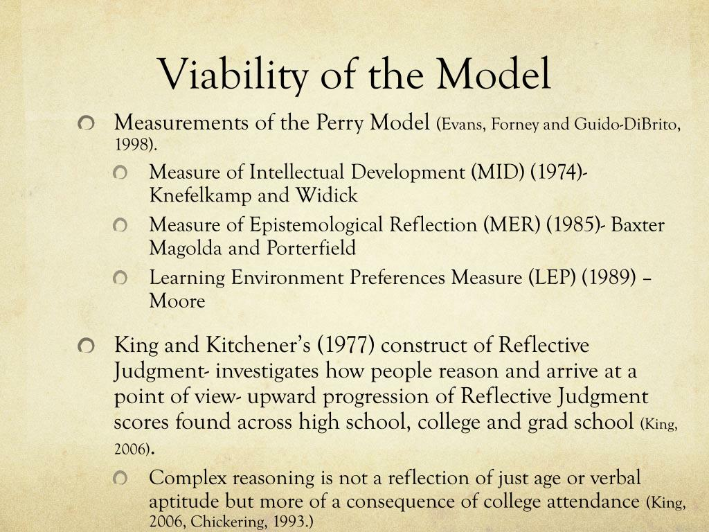 Viability of the Model