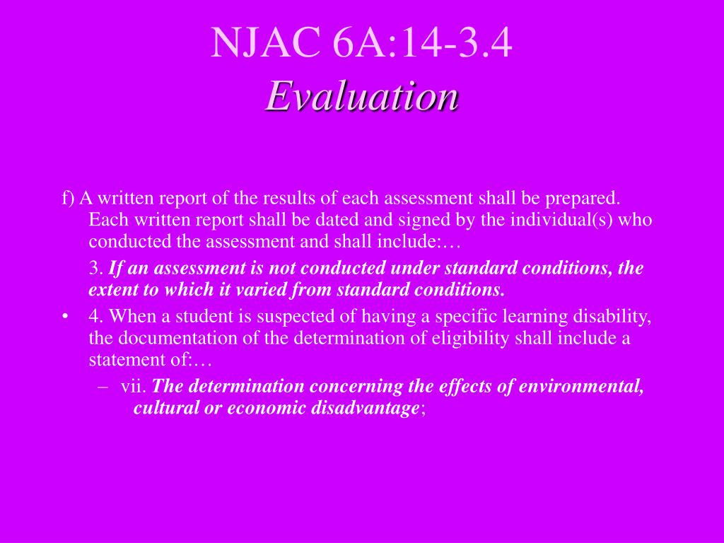 NJAC 6A:14-3.4