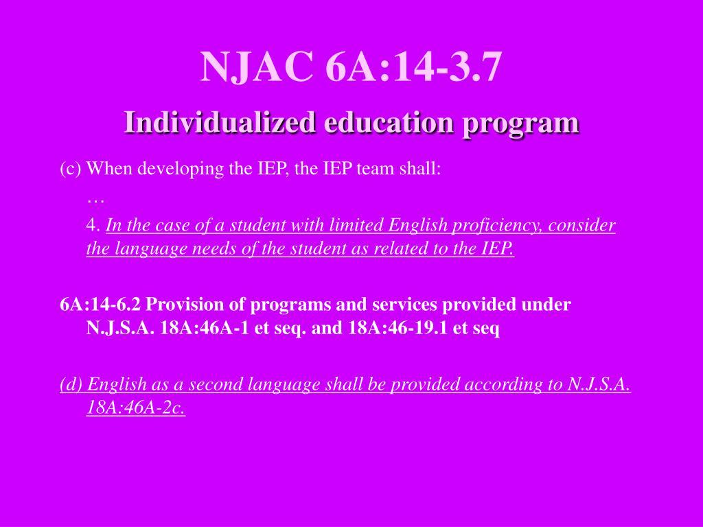 NJAC 6A:14-3.7