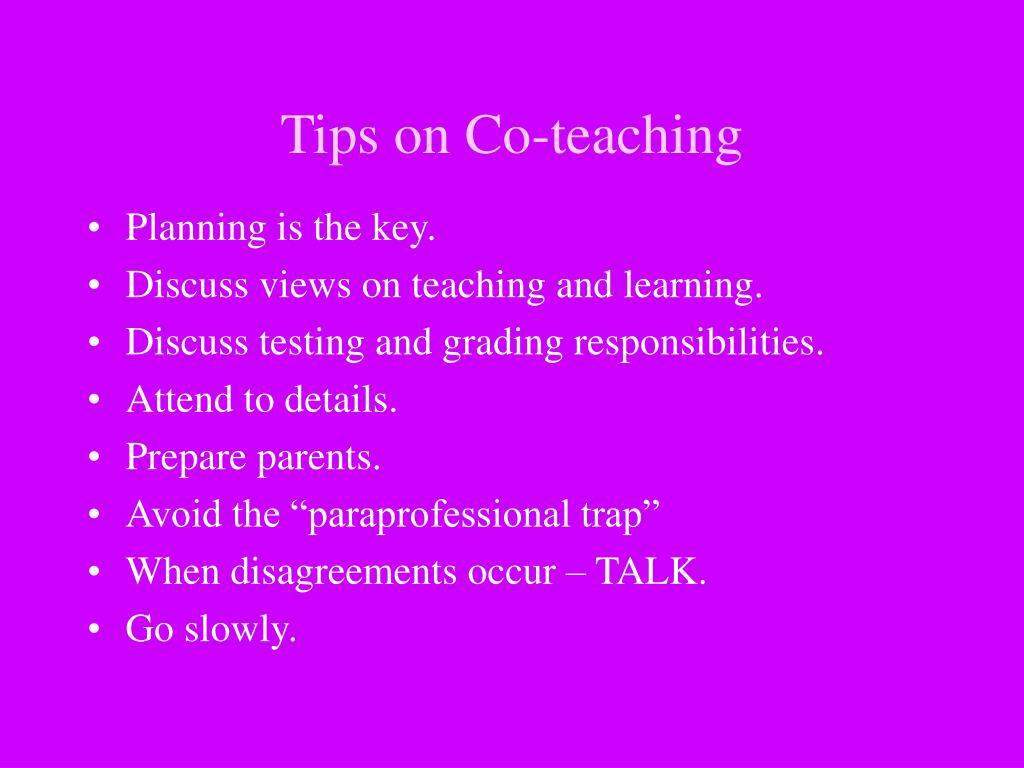Tips on Co-teaching