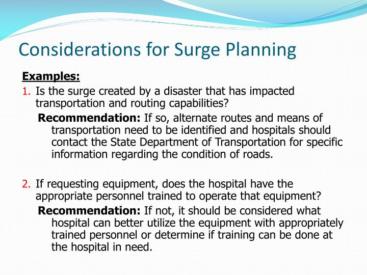 Considerations for Surge Planning