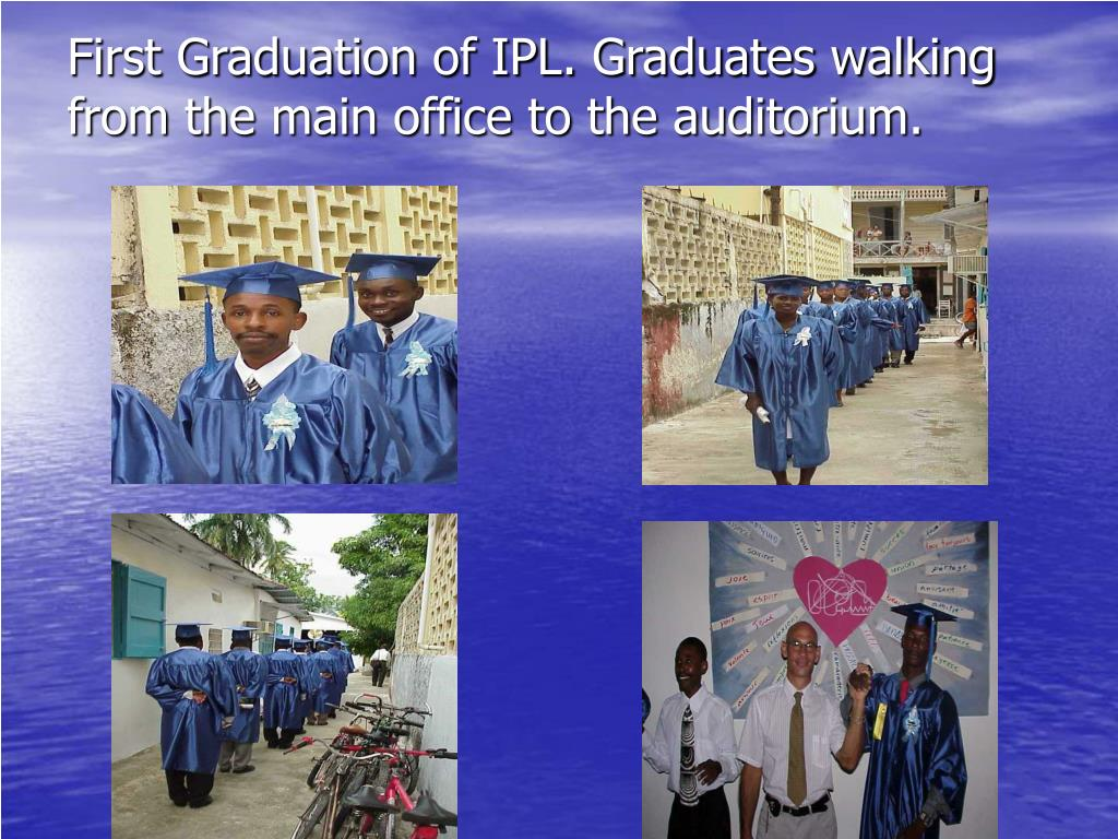 First Graduation of IPL. Graduates walking from the main office to the auditorium.