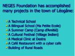 neges foundation has accomplished many projects in the town of l og ne