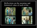 reflections on the meaning and historical value of such event