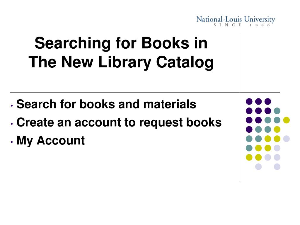 Searching for Books in The New Library Catalog