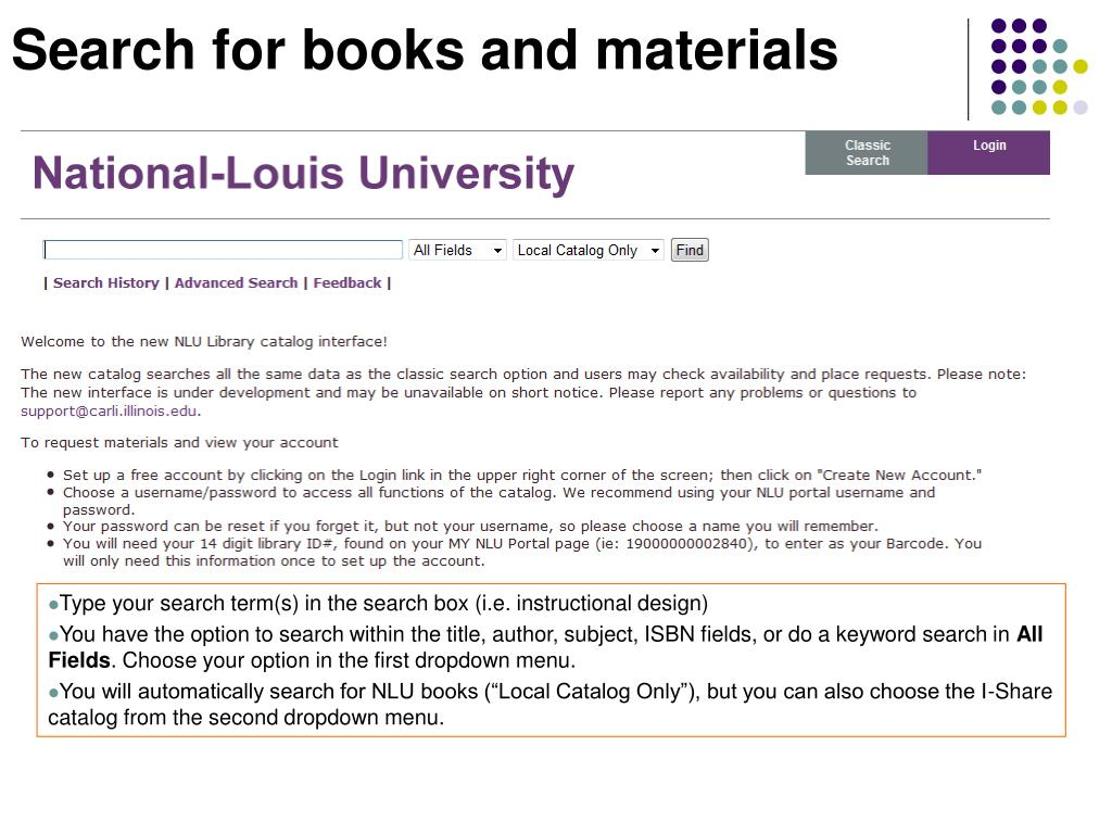Search for books and materials