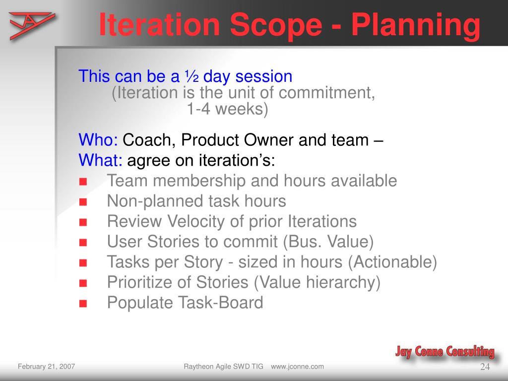 Iteration Scope - Planning
