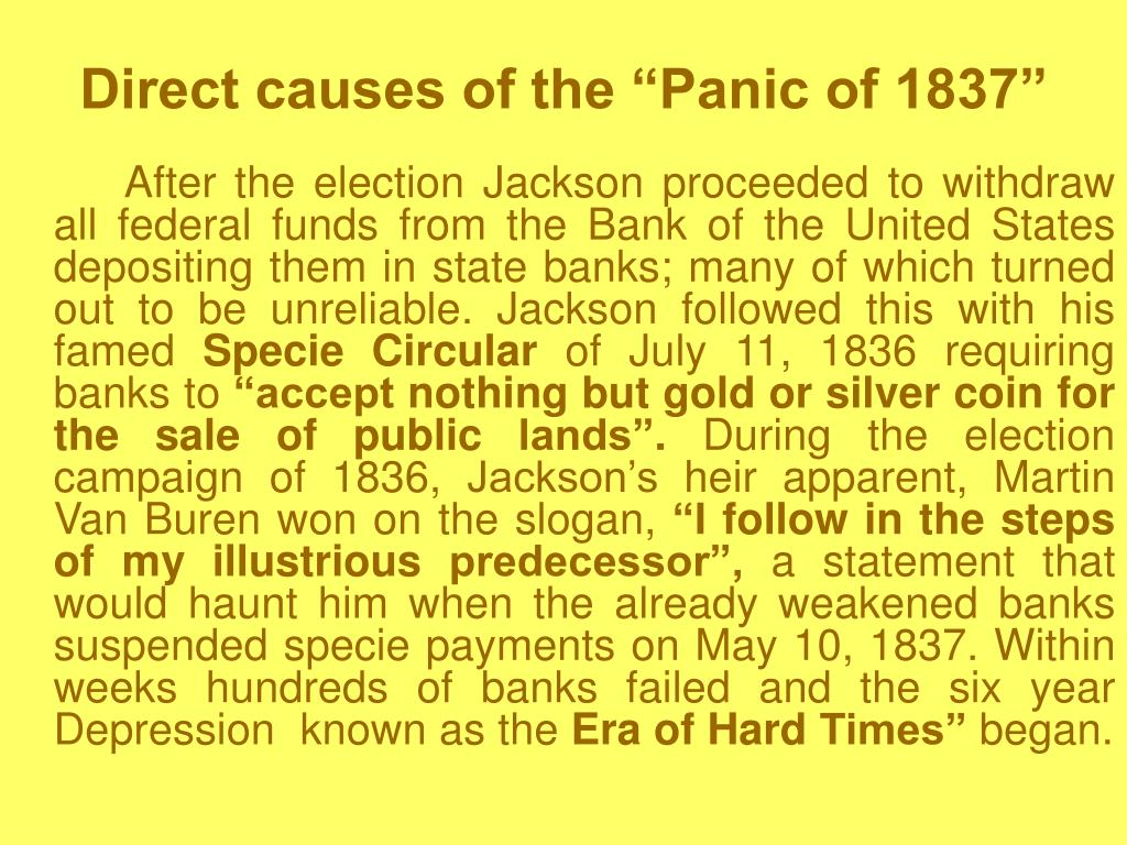 "Direct causes of the ""Panic of 1837"""