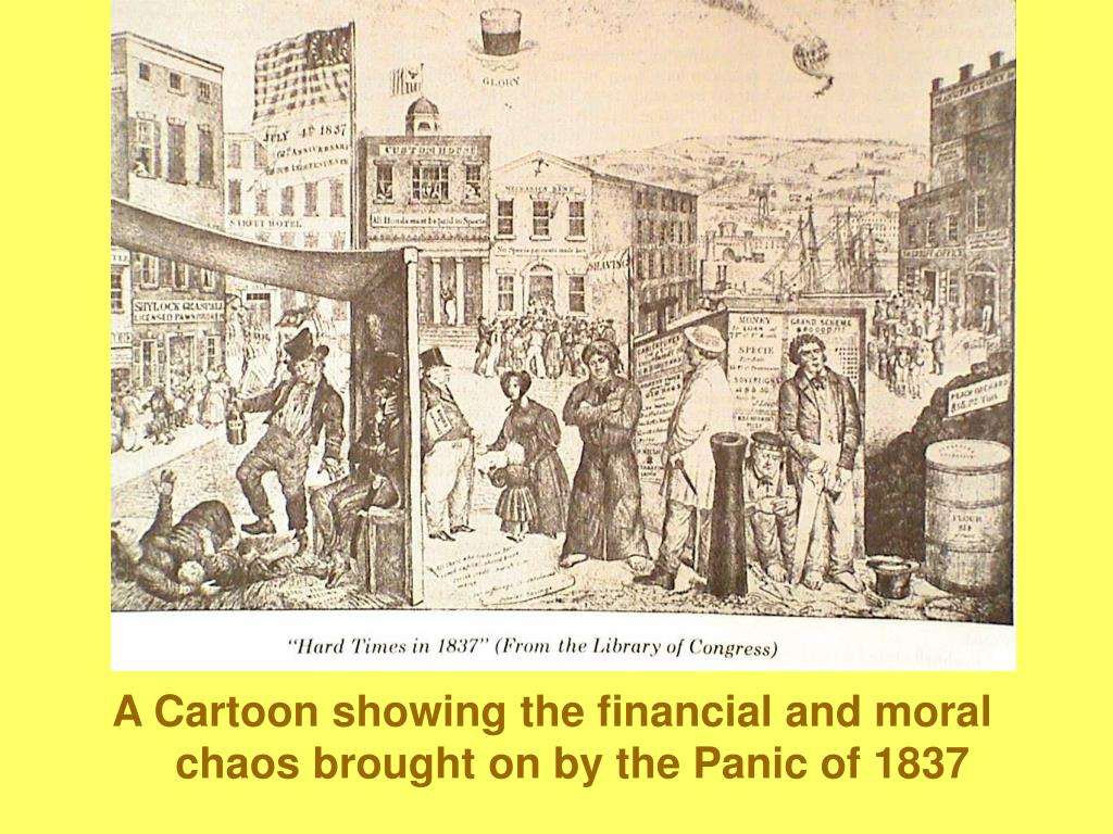 A Cartoon showing the financial and moral chaos brought on by the Panic of 1837