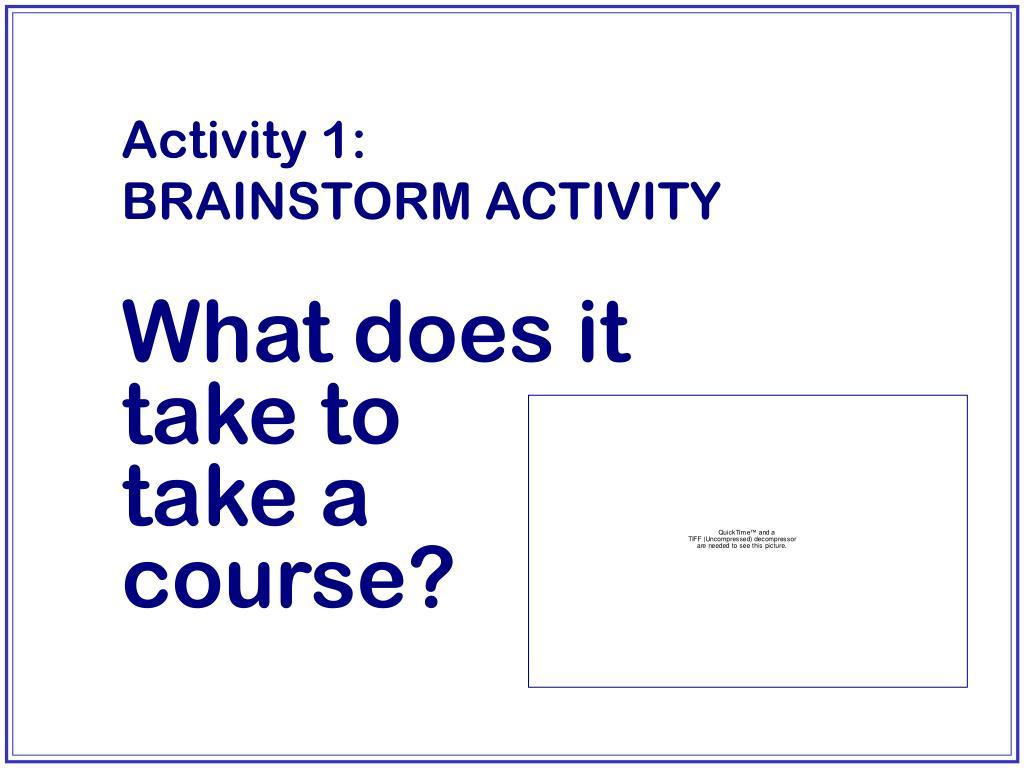 Activity 1:        BRAINSTORM ACTIVITY