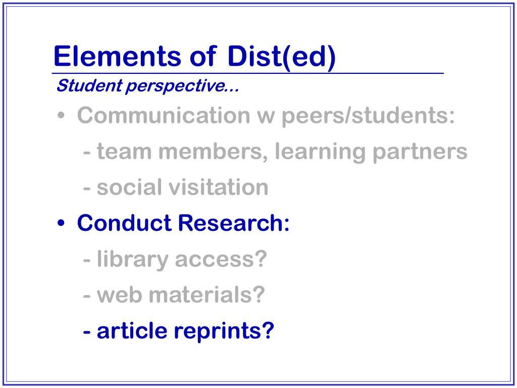 Elements of Dist(ed)