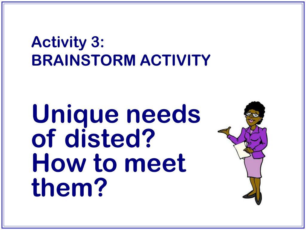 Activity 3:        BRAINSTORM ACTIVITY