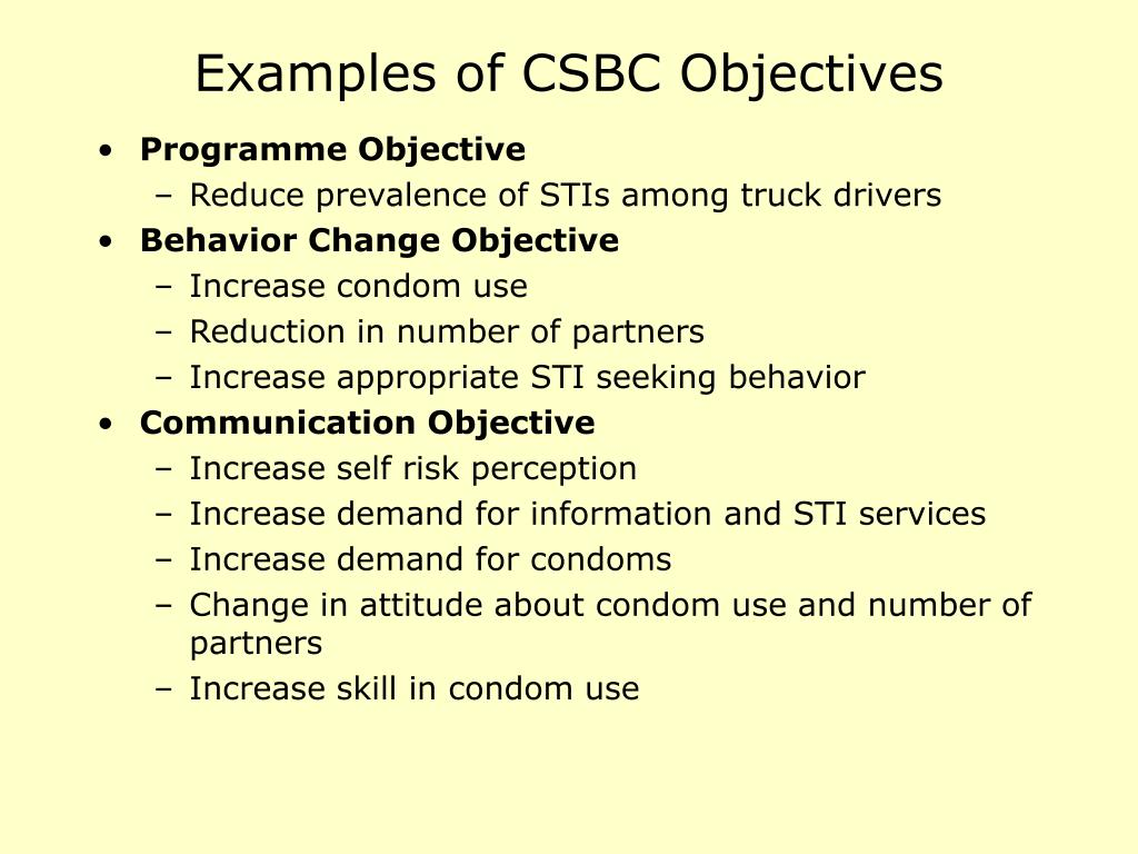 Examples of CSBC Objectives