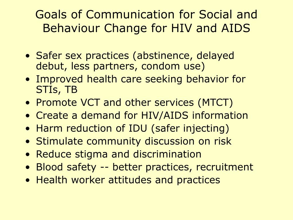 Goals of Communication for Social and Behaviour Change for HIV and AIDS