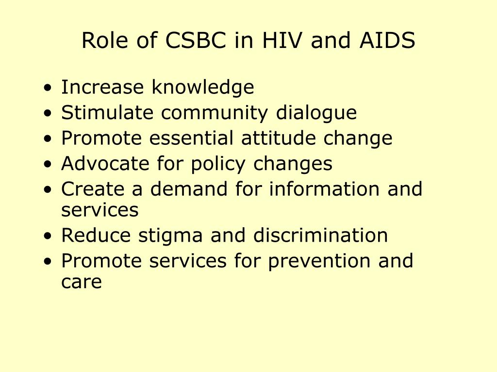 Role of CSBC in HIV and AIDS